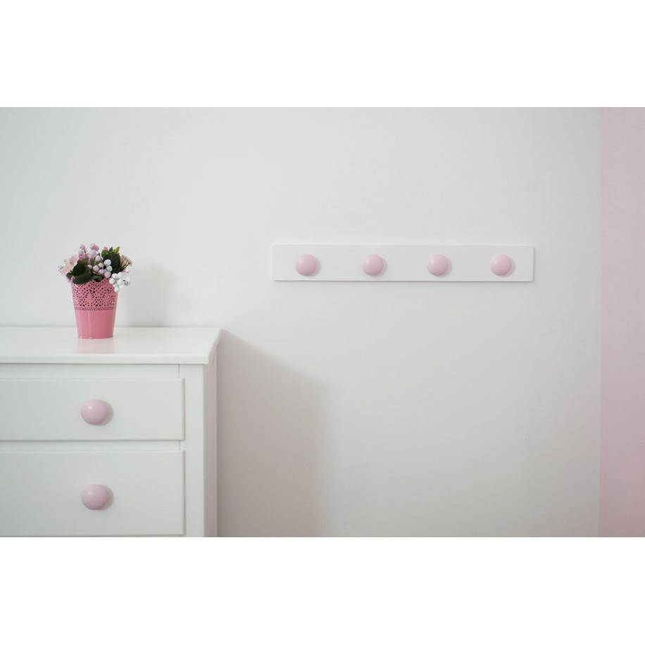 Perchero de pared infantil. Redondo Rosa