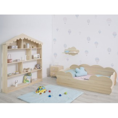 Dormitorio infantil Montessori Nube. Madera Natural